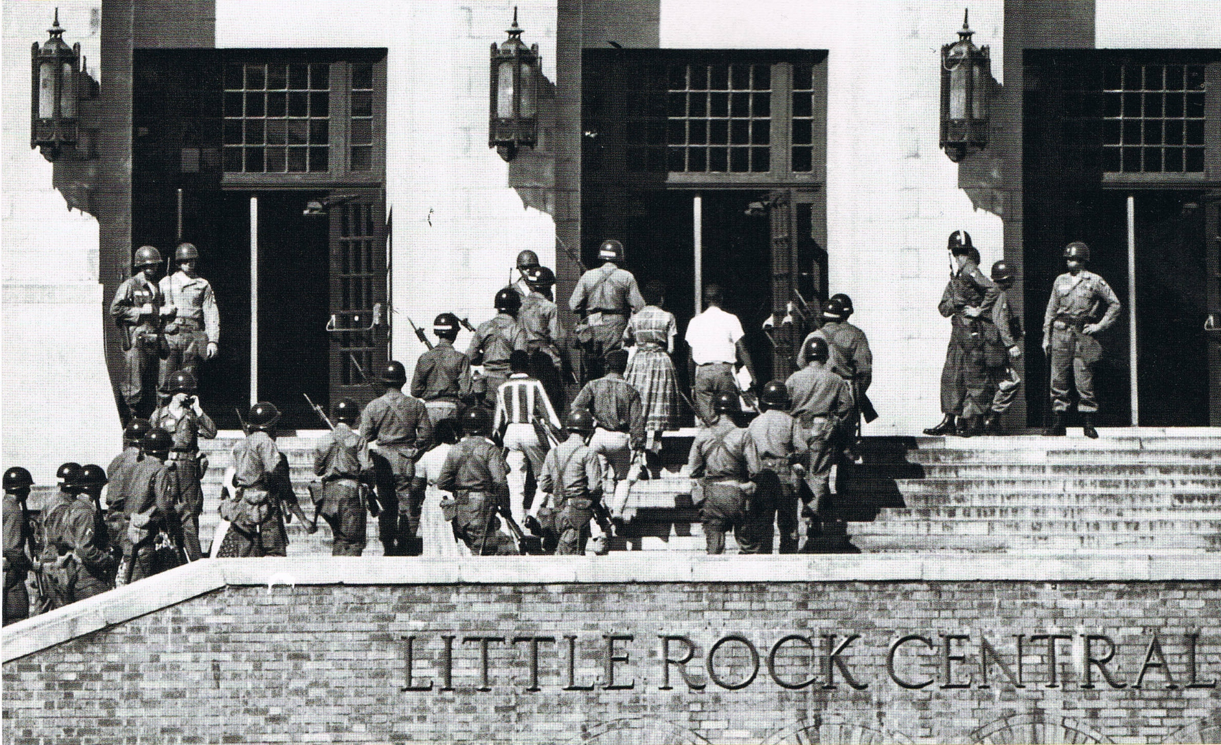 In 1957, Arkansas Governor Orval Faubus refused to allow the integration of Little Rock High School following the Supreme Court Brown vs. Board of Education decision. President Eisenhower subsequently ordered the US Army to escort nine students into the school.