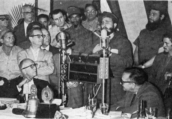 "Fidel Castro outlines his ""26th of July Movement"" before the Rotary Club of Havana."
