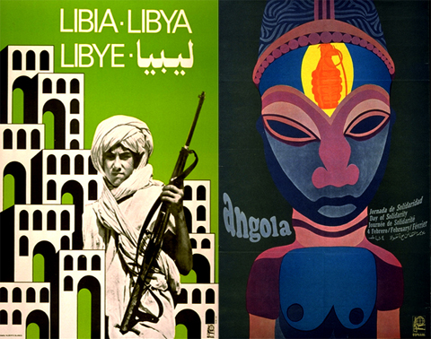 Libya and Angola OSPAAAL posters. Their posters often feature a small weapon of defense. Large weapons of destruction, such as planes and bombs, are only used by the imperial oppressor.